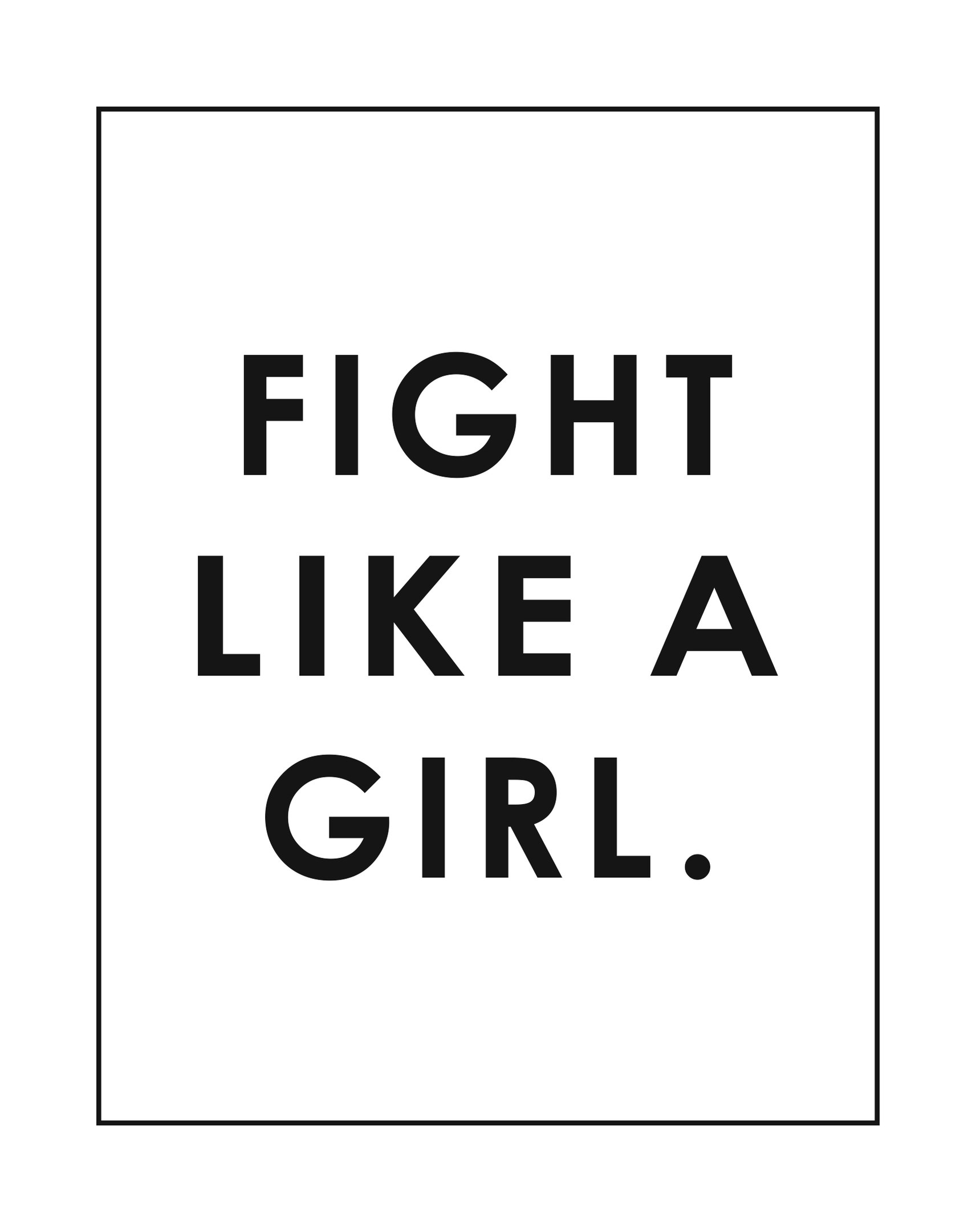 Fight Like a Girl Poster Free CDR Vectors Art