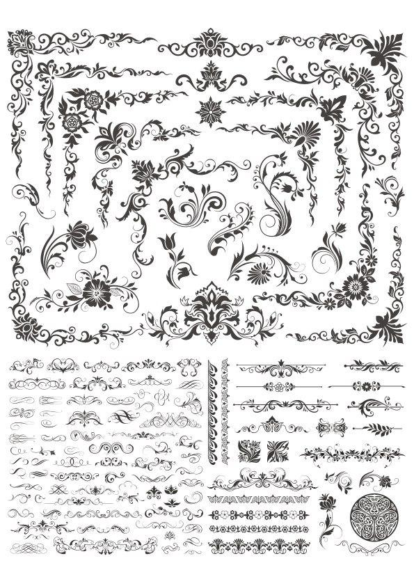 Floral Decor Elements Free CDR Vectors Art