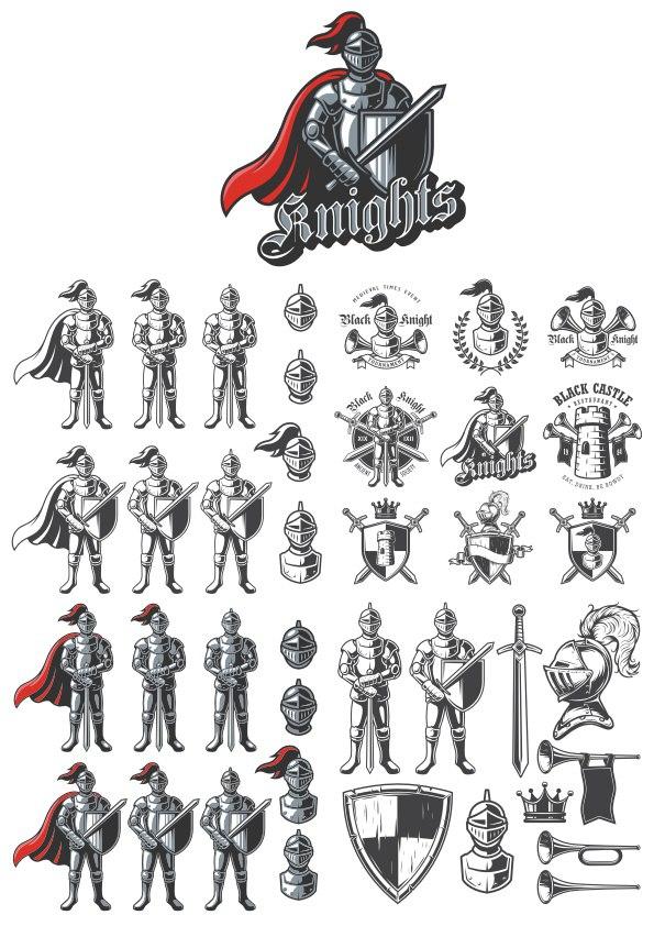 Knights Emblems Free CDR Vectors Art