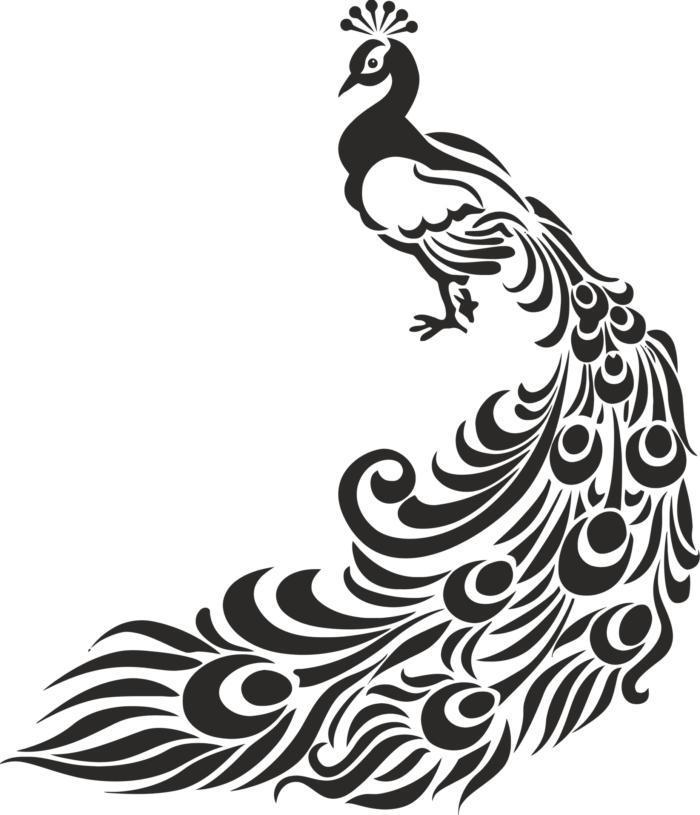 Peacock Stencil Free CDR Vectors Art