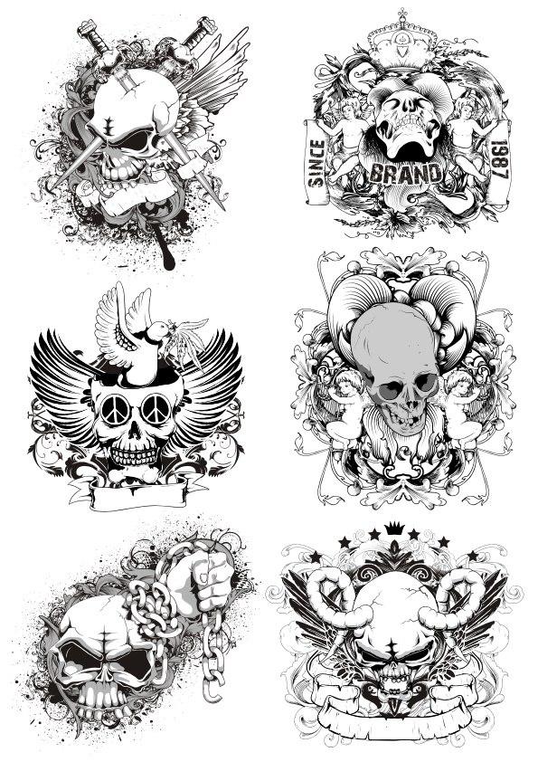 Horrible Skulls Free CDR Vectors Art