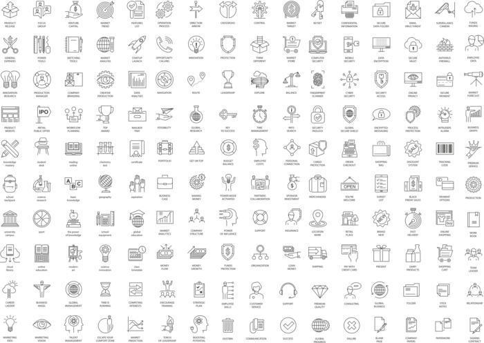 Thin Line Icons Set Free CDR Vectors Art