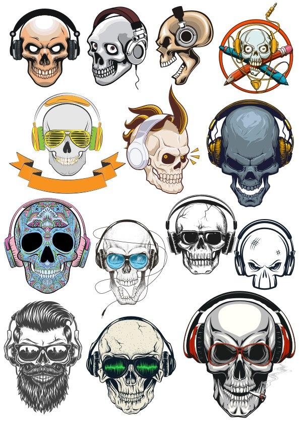 Skull with Headphones Free CDR Vectors Art