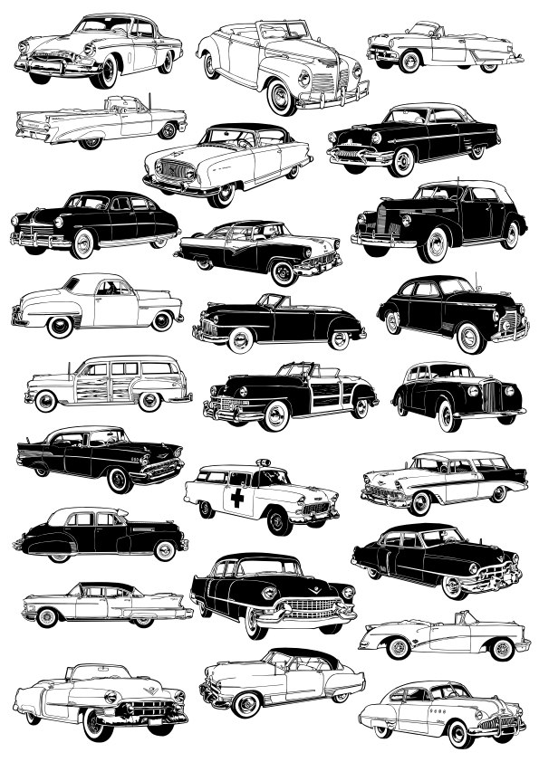 Retro cars vector set Free CDR Vectors Art