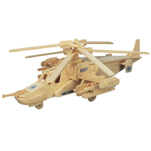 3D Wooden Helicopter Assembly Puzzle Free CDR Vectors Art