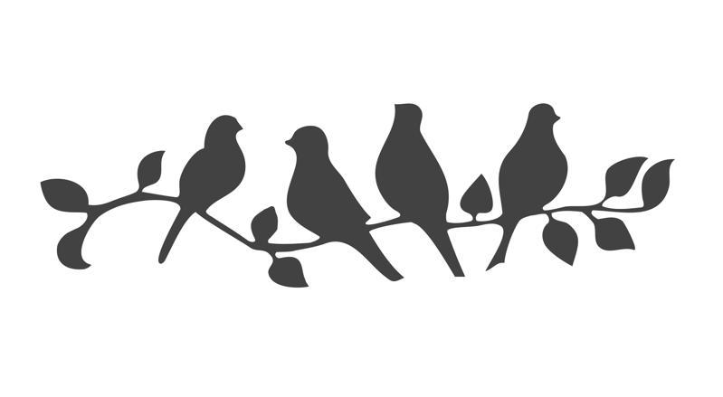 Beautiful Birds on a Branch Stencil Free CDR Vectors Art