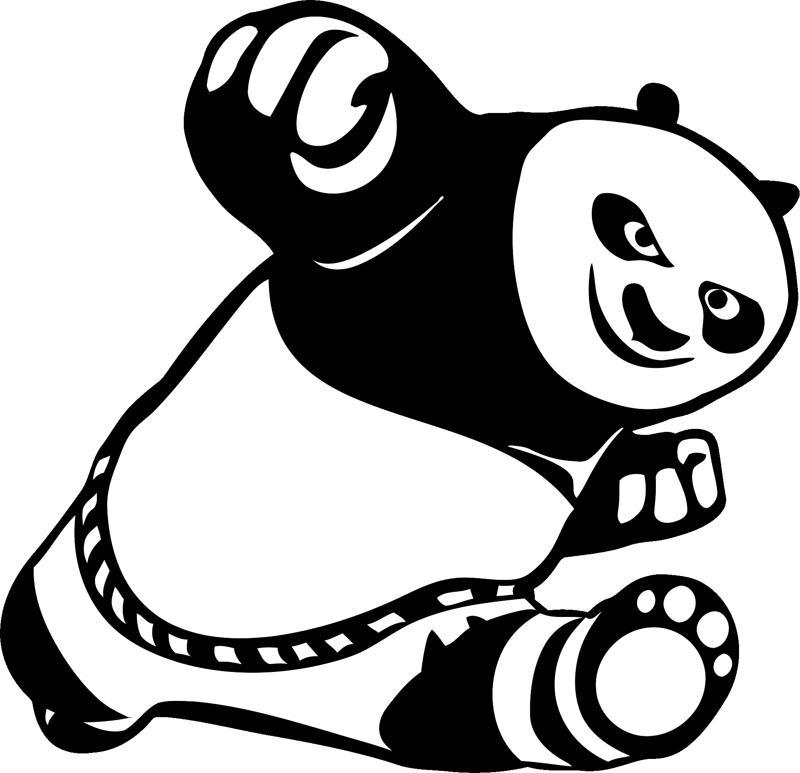Car Stickers Cute Kung Fu Panda Free CDR Vectors Art