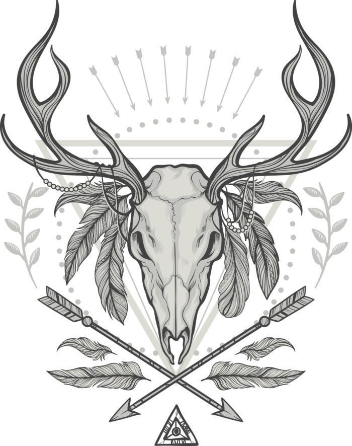 Deer Shaman Print Free CDR Vectors Art