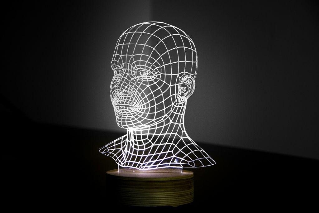 Head 3D LED Night Light Free CDR Vectors Art