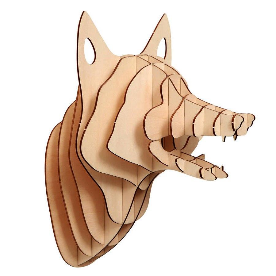 Fox Head 3D Puzzle Plan Free CDR Vectors Art