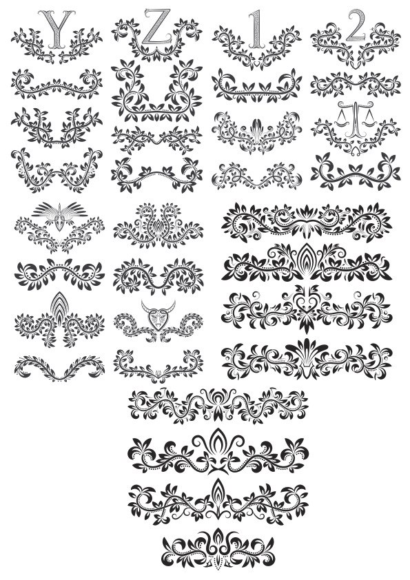 Floral Alphabet Decor Elements Free CDR Vectors Art