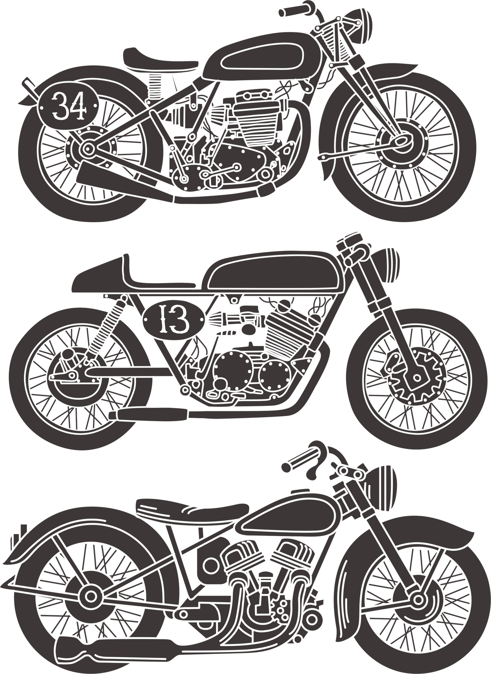 Vintage Motorcycle Set Free CDR Vectors Art