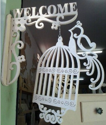 Welcome Sign with Bird Cage Free CDR Vectors Art