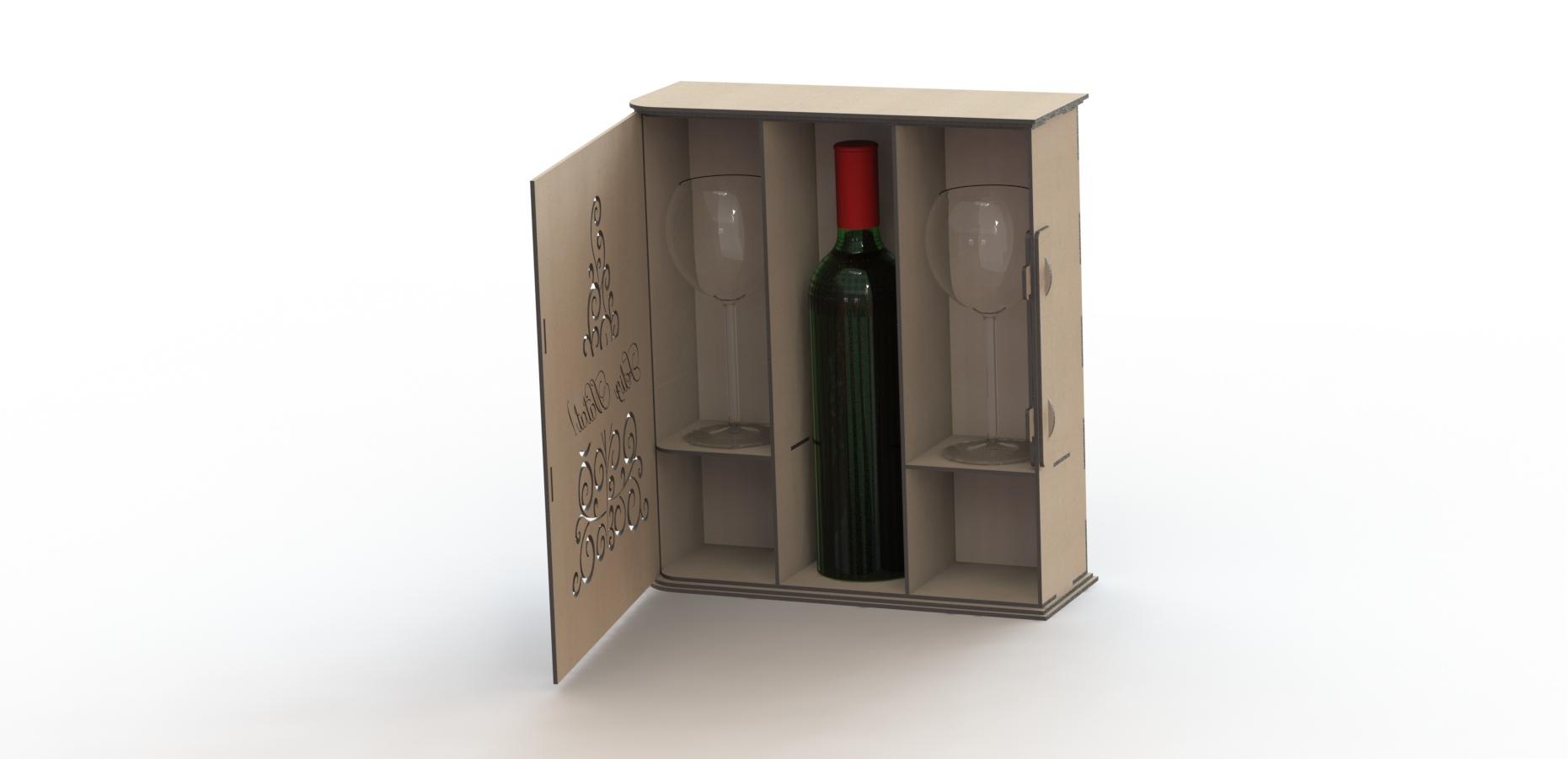 Laser Cut Wine Box Free CDR Vectors Art