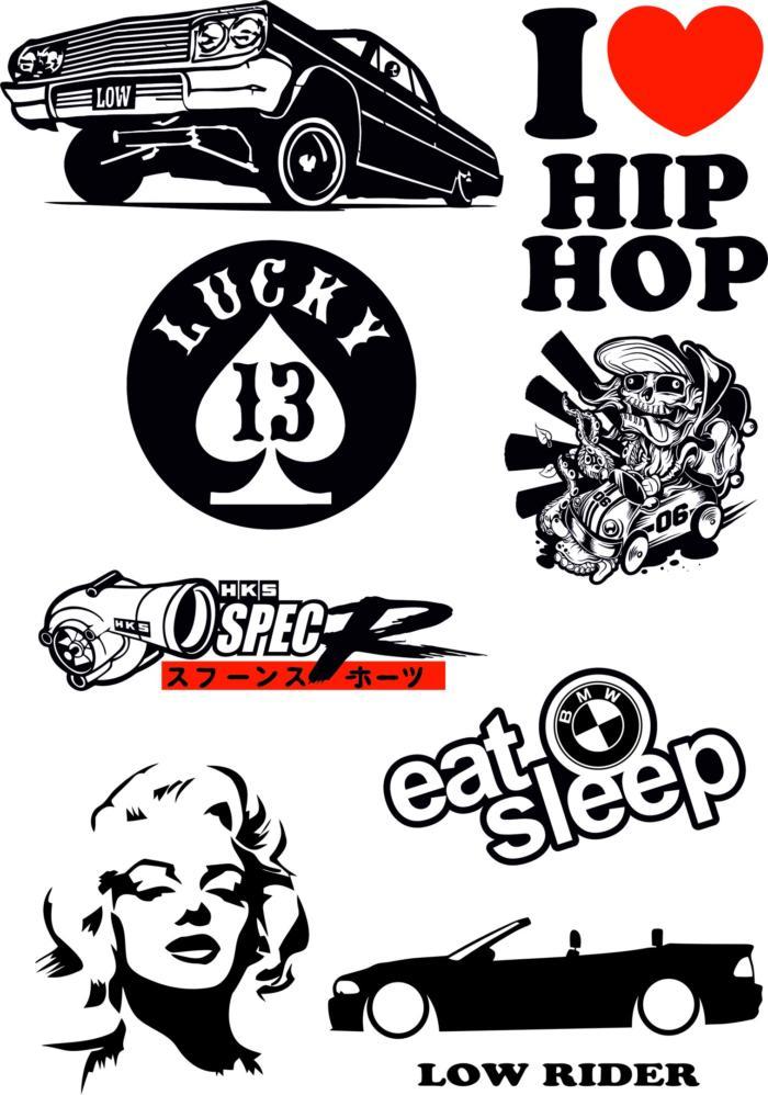 Hip Hop Stickers Car Free CDR Vectors Art