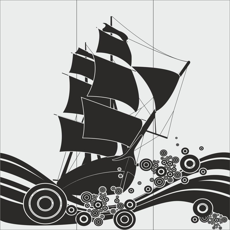 Ship Glass Etching Sandblasting Patterns Free CDR Vectors Art