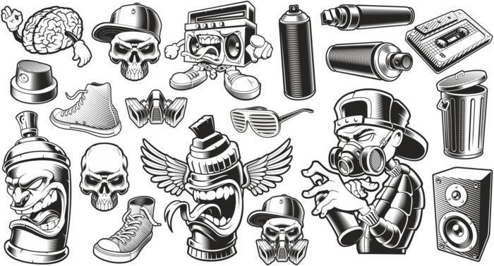 Graffiti Stickers Set Free CDR Vectors Art