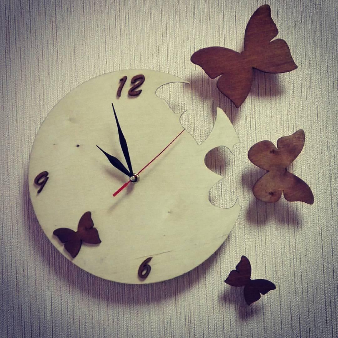Butterfly Clock Laser Cut Free CDR Vectors Art