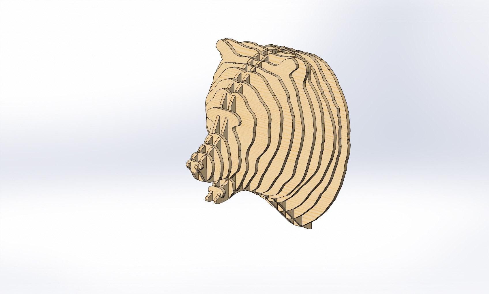 Bear 3D Puzzle Plans Free CDR Vectors Art
