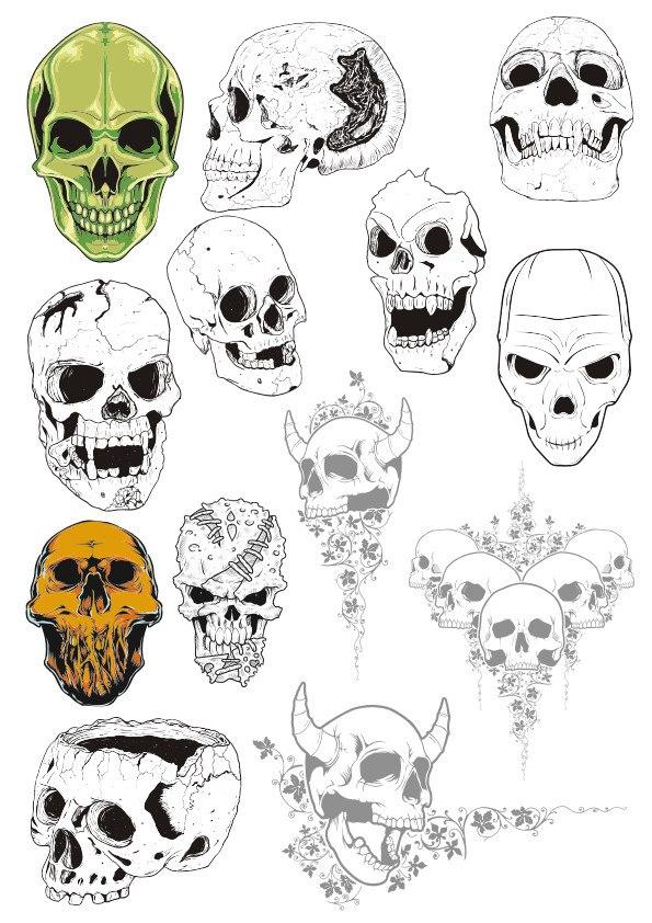 Skull Set Free CDR Vectors Art