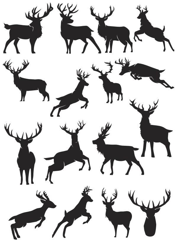 Deer Silhouette Vector Collection Free CDR Vectors Art