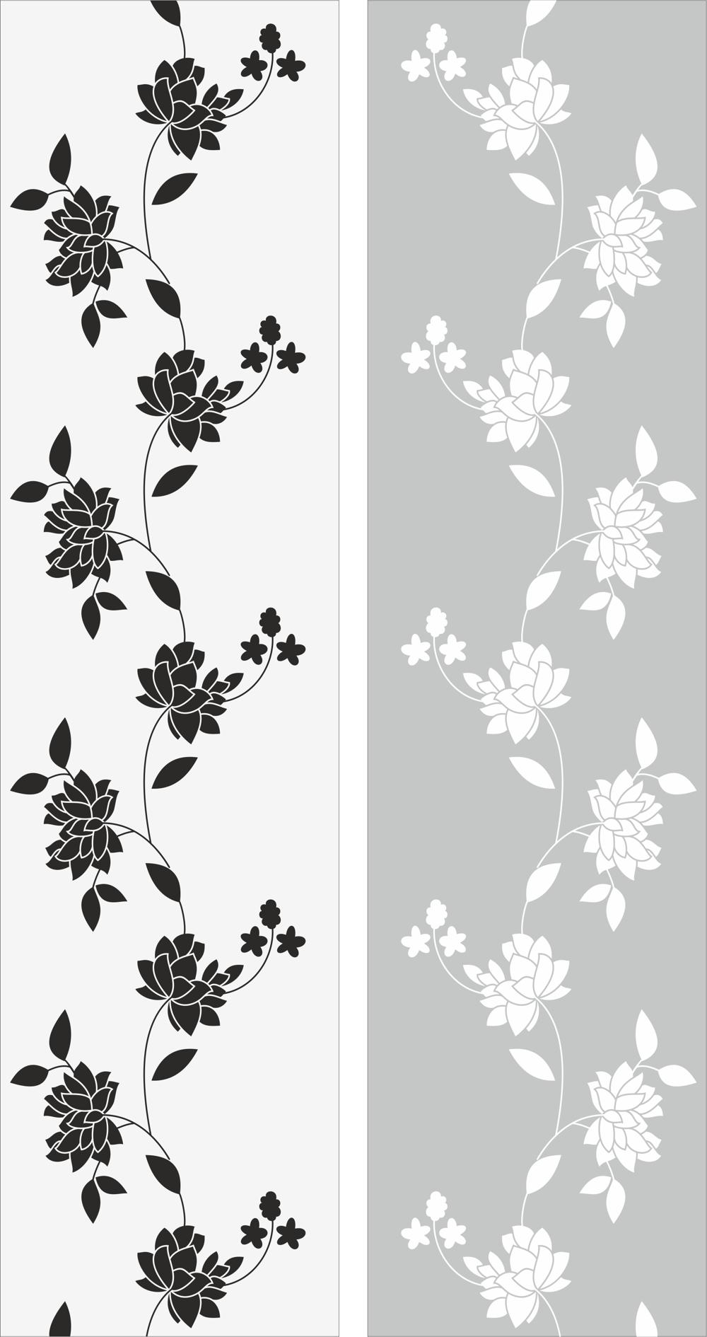 Flowers Glass Decal Free CDR Vectors Art
