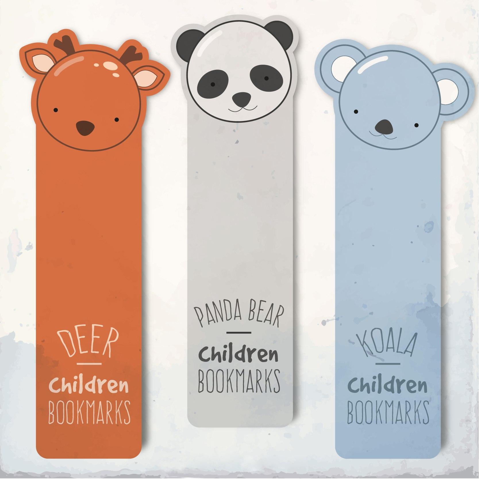 Laser Cut Bookmarks Deer Panda Koala Free CDR Vectors Art