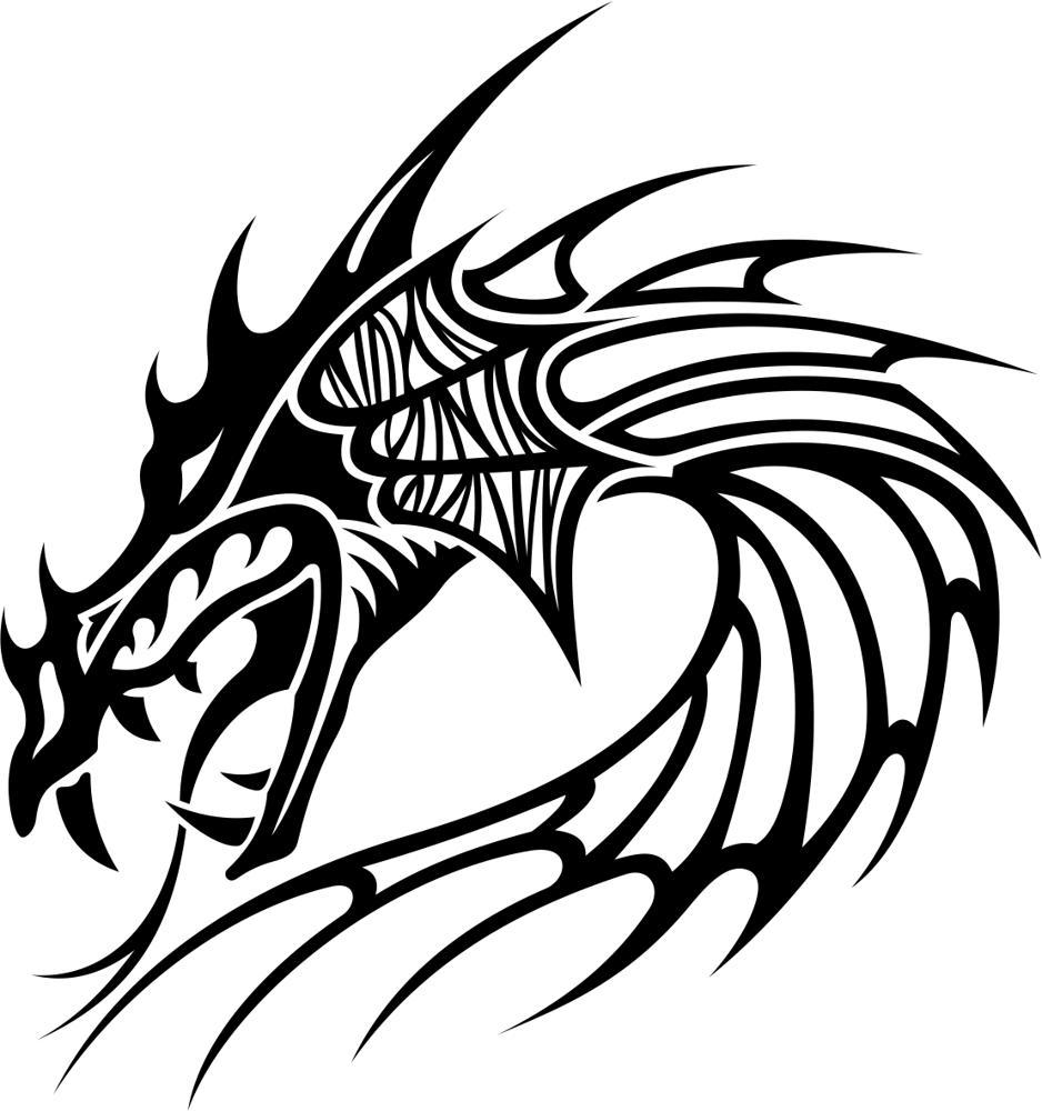 Tribal Dragon Tattoo Free CDR Vectors Art