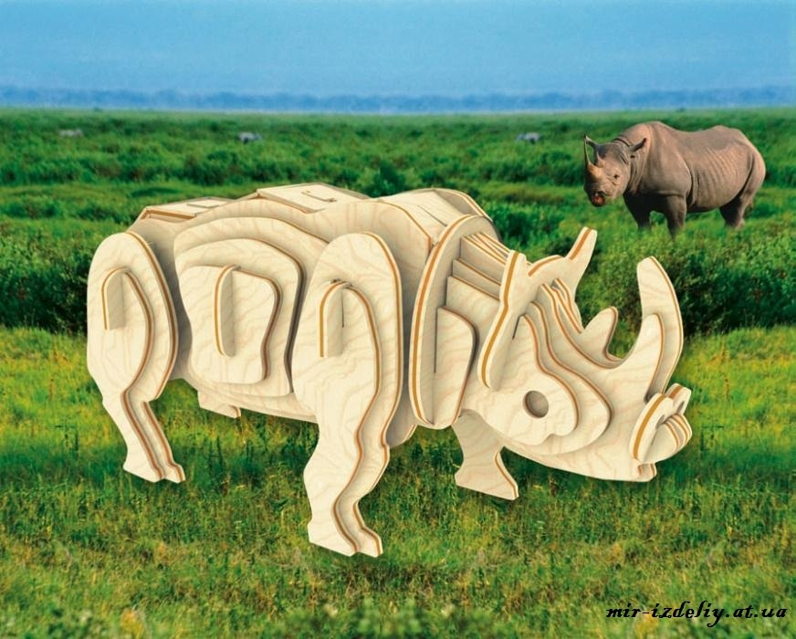 Rhino 3D Puzzle Laser Cut CNC Plans Free CDR Vectors Art
