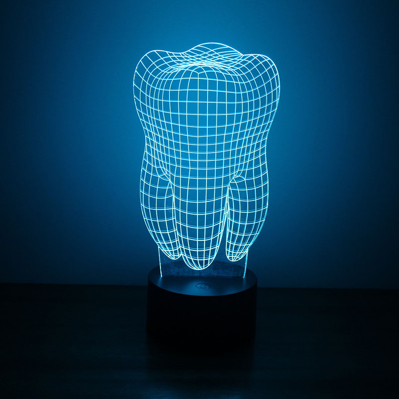 Tooth 3D LED Night Light Free CDR Vectors Art