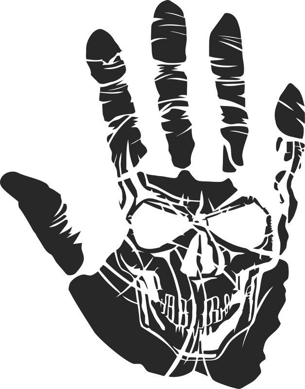 Sticker Skull Hand Tattoo Free CDR Vectors Art