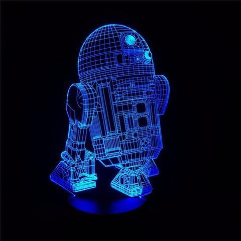 Star Wars R2-D2 Robot 3D LED Night Light Free CDR Vectors Art