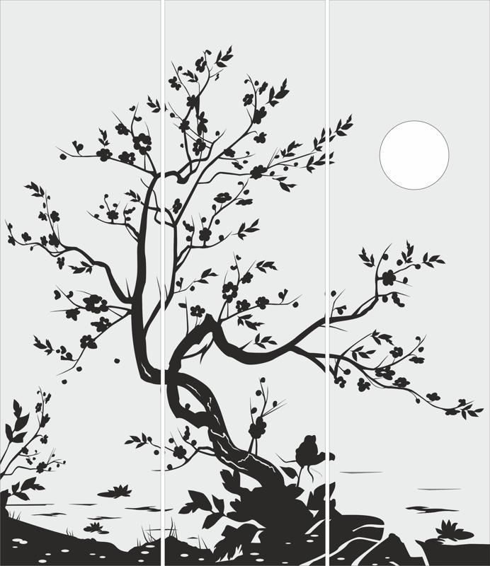 Tree Glass Door Design Free CDR Vectors Art
