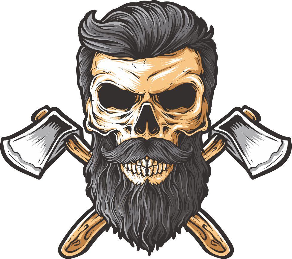 Bearded skull illustration on white background Free CDR Vectors Art