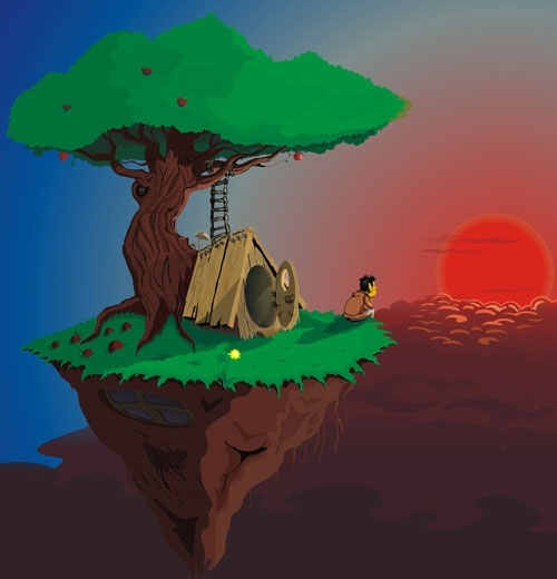 Admires the Sunset Free CDR Vector Art