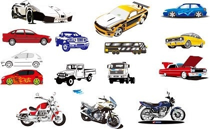 Motorcycle and car models sets colored sketch Free CDR Vectors Art