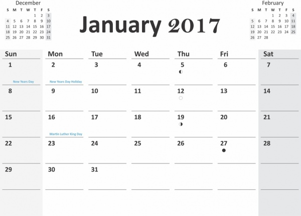 2017 calendar with previous and next months in cdr pdf format Free CDR Vectors Art