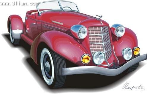 Antique car advertising background colored 3d design Free CDR Vectors Art
