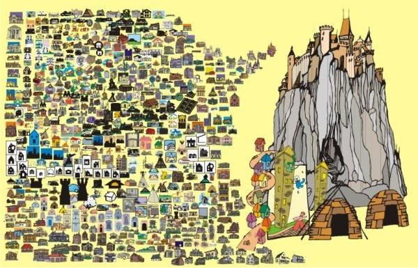 600 balance cartoon house Free CDR Vectors Art