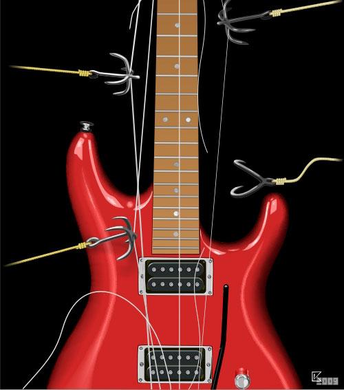 Barbed Guitar Free CDR Vectors Art