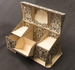 Three Compartment Box File Download For Laser Cut Free CDR Vectors Art
