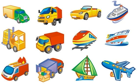 Cute style icon transport Free CDR Vectors Art