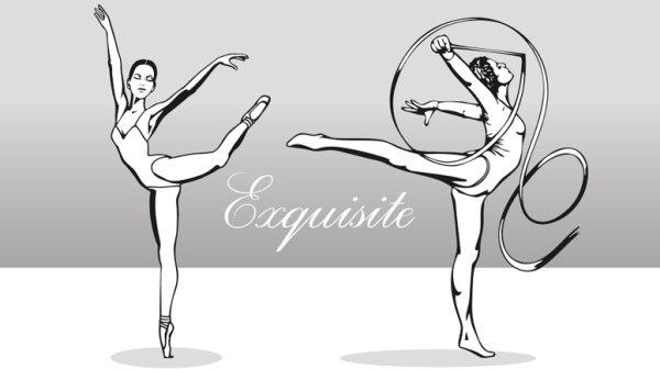 Beautiful artistic gymnastics Free CDR Vectors Art