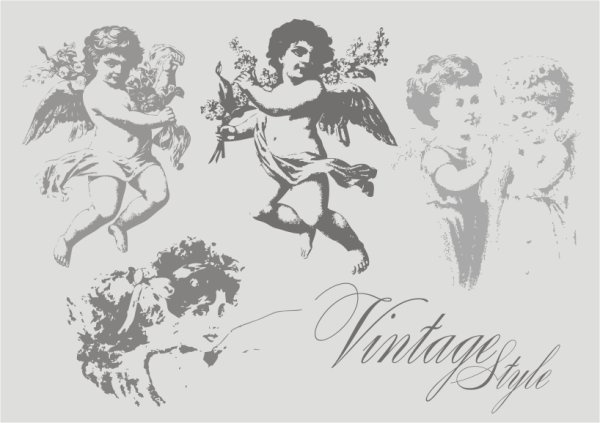 Angel icons collection black white Free CDR Vectors Art