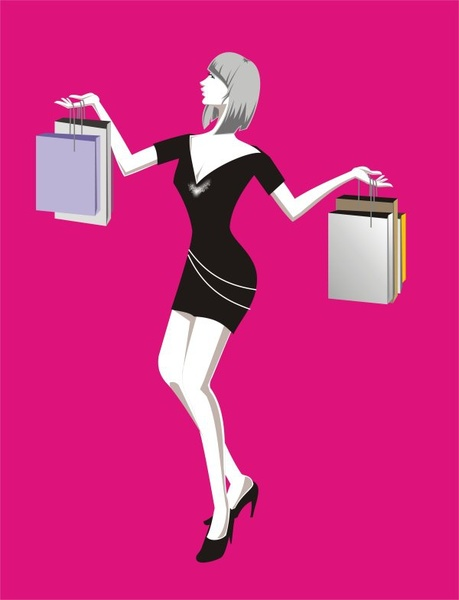 fashion woman shopping Free CDR Vectors Art