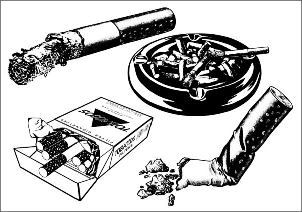 Cigarette with Case Free CDR Vectors Art