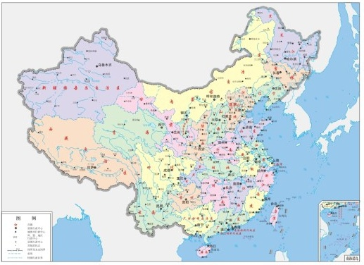Map of china four color Free CDR Vectors Art
