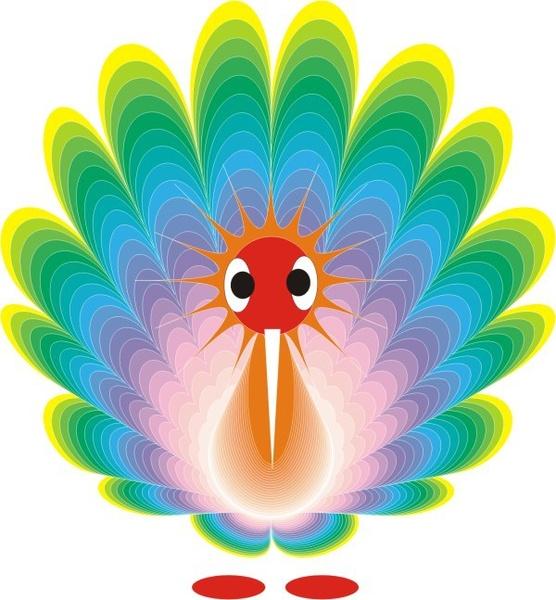 Peacock icon closeup colorful cartoon Free CDR Vectors Art