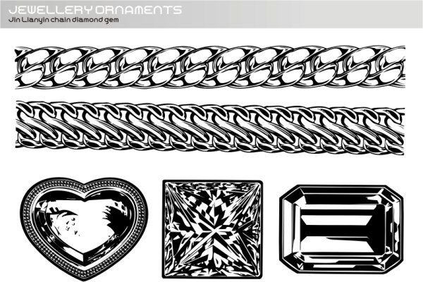 Realistic gold and silver chain diamond Free CDR Vectors Art