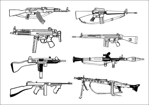Firearms Free CDR Vectors Art